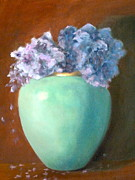 Pottery Paintings - Hydrangeas in Turquoise Vase by Elizabeth B Tucker