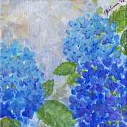 Lush Green Painting Posters - Hydrangeas on a Cloudy Day Poster by Arlissa Vaughn