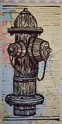 Linocut Posters - Hydrant on Map Poster by William Cauthern
