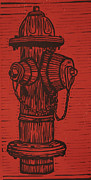 Lino Framed Prints - Hydrant Framed Print by William Cauthern
