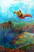 Green Sea Turtle Paintings - Hydrodynamics by David  Maynard