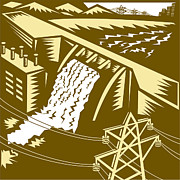 Pylon Framed Prints - Hydroelectric Hydro Energy Dam Woodcut Framed Print by Aloysius Patrimonio