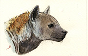 Nature Study Painting Metal Prints - Hyena head study Metal Print by Juan  Bosco