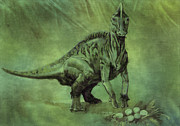 Prehistoric Digital Art - Hypacrosaurus Dinosaur by World Art Prints And Designs