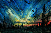 Canadian Geese Mixed Media - Hyperborean Flight by R Kyllo