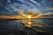 Tel Aviv Prints - Hypnotic Sunset at Israel Print by Ron Shoshani