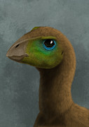 One Animal Digital Art Posters - Hypsilophodon Dinosaur Portrait Poster by Alvaro Rozalen