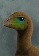 Hypsilophodon Dinosaur Portrait Print by Alvaro Rozalen
