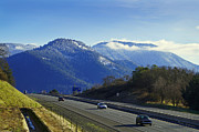 Drifting Snow Prints - I-5 at Grants Pass in Winter Print by Mick Anderson