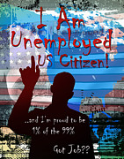 Us Flag Mixed Media Prints - I Am Print by Bedros Awak