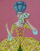 18th Century Painting Originals - I Am Desirous of Your Acquaintence-Language of the Fan by Beth Clark-McDonal