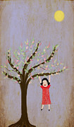 Baby Playing Art Print Prints - I Am Glad That There Are Trees Print by Katy McFall