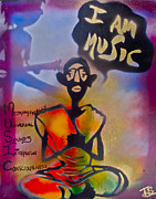 Stencil Art Paintings - I am Music #1 by Tony B Conscious