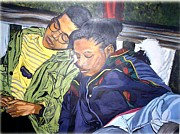 Family Love Painting Originals - I am my brothers keeper by Michael Mahue Moore