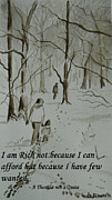 Quotation Painting Prints - I am Rich - Monochrome-snow scene Print by Geeta Biswas