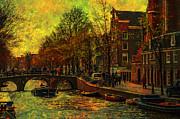 I Amsterdam. Vintage Amsterdam In Golden Light Print by Jenny Rainbow