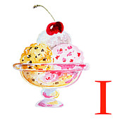 Children Ice Cream Prints - I Art Alphabet for Kids Room Print by Irina Sztukowski