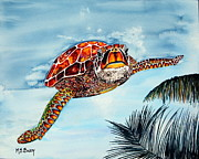 Ocean Turtle Painting Originals - I Beleive I Can Fly by Maria Barry