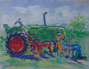 Oliver Row Crop Framed Prints - I Can Tell You Anything You Want To Know About This Tractor Framed Print by Carol Berning