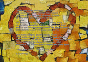 Heart Shaped Mixed Media - I Carry your Heart by Poetry and Art