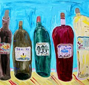Red Wine Drawings Posters - I Choose Wine by the Label Poster by Mary Carol Williams