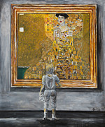 Child With Teddy Bear Framed Prints - I Dream Of Klimt Framed Print by Nik Helbig