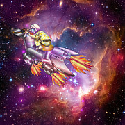 Outerspace Metal Prints - I Dream of Rockethorse Metal Print by Laura Brightwood