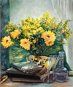 Interior Still Life Painting Metal Prints - I Fiori Gialli Metal Print by Danka Weitzen