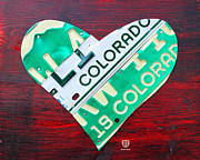 Colorado Mixed Media Prints - I Heart Colorado License Plate Art Print by Design Turnpike