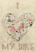 Old Bicycle Posters - I Heart My Bike Poster by Andy Scullion