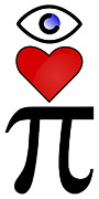 3.14 Metal Prints - I Heart Pi Metal Print by Ron Hedges