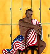 July 4th Mixed Media - I love America by Jason  Donaire