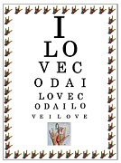 Bright Colors Framed Prints - I LOVE CODA Eye Chart Framed Print by Eloise Schneider