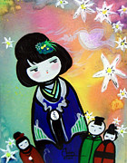 Robe Mixed Media Posters - I Love Kokeshi 2 Poster by Ohso Faboolus