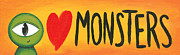 Green Monster Prints - I Love Monsters Print by Cori Pitcher