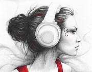 Graphite Portrait Drawings Prints - I Love Music Print by Olga Shvartsur