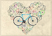 Gear Wheel Posters - I Love My Bike Poster by Andy Scullion