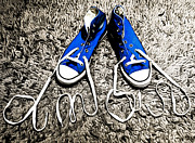 Footwear Love Posters - I love my blue suede tennis shoes Poster by Georgina Noronha