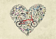 Red Sky Mixed Media Posters - I Love My Brompton Poster by Andy Scullion