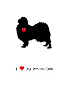 Japanese Chin Framed Prints - I Love My Japanese Chin Framed Print by Safran Fine Art