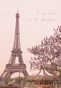 Vintage Eiffel Tower Posters - I Love Paris in the Springtime Poster by Heidi Hermes