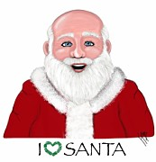 Santa Claus Drawings Posters - I Love Santa Poster by Lisa Estep
