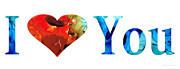 Heart Print Posters - I Love You 10 - Heart Hearts Valentines Day Romantic Art Poster by Sharon Cummings