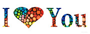 Hearts Prints - I Love You 14 - Heart Hearts Romantic Art Print by Sharon Cummings
