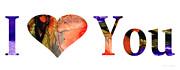 I Love You 3 - Heart Hearts Romantic Art Print by Sharon Cummings