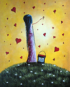 Yellow Fairy Paintings - I Love You by Shawna Erback by Shawna Erback