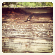 For Her Framed Prints - I Love You Carved in Wood Framed Print by Brooke Ryan