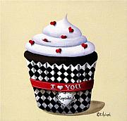 Folk Art Painting Metal Prints - I Love You Cupcake Metal Print by Catherine Holman