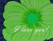 I Feel Prints - I Love You - Green Flower - Greetings Print by Barbara Griffin
