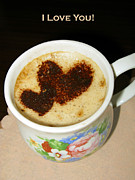 Pandute Digital Art Prints - I Love You. Hearts In Coffee Series Print by Ausra Paulauskaite